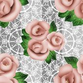Seamless Floral Pattern With Camellia On Lace