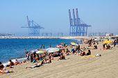 Seaside and port, Malaga, Spain.
