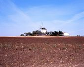 Farmland with windmill to rear, Portugal.