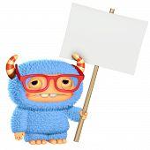 foto of bigfoot  - 3d cute blue cartoon monster holding placard - JPG