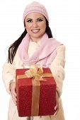 Female Holding Wrapped Present.
