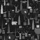 Wood Animals Tapestry Seamless Pattern In Grey