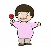 cartoon fat child with lollipop