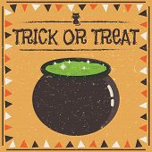 pic of cauldron  - halloween frame decoration with cauldron and text with transparent texture - JPG