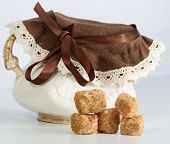 Vintage Sugar Bowl With Chunks Of Brown Cane Sugar