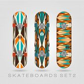 Skateboard Set. Retro Tracery