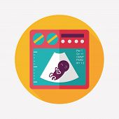 Ultrasound Baby Flat Icon With Long Shadow