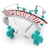 Responsibility 3d word on arrows connecting people in a workplace or ogranziation as delegation of work, tasks or duties from one worker to another
