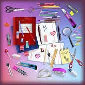 Kit Of Office Stationery Objects Scattered On The Table In Vector
