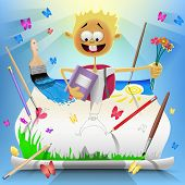 Back To School Card With Smile Boy Who Drew In Vector