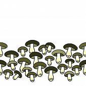 Green gray edible mushrooms autumn seasonal seamless horizontal border on white