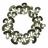 Green gray edible mushrooms autumn seasonal decorative wreath on white