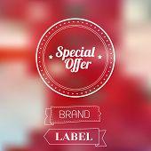 Vintage sale discount Special offer label on modern blurred background