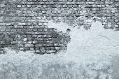 The Old Plastered Brick Wall In Monochrome Tones