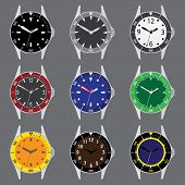 Various Color Divers Watch Case And Dials With Hands Eps10