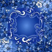 stock photo of color spot black white  - Illustration of abstract floral frame in blue white and black colors - JPG