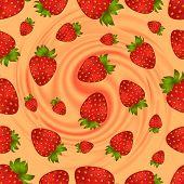 Seamless Strawberry Pattern With Swirl Background