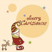 Vector X-mas Card. Christmas Elf