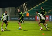 Zilina, Slovakia  - October 8, 2014: Spain National Team Players Take Part In A Training Session Ahe