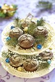 picture of desert christmas  - Tasty Christmas chocolate cakes with powdered sugar