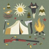 Camping And Hiking Elements With Shabby Texture