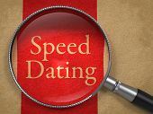 foto of bye  - Speed Dating through Magnifying Glass on Old Paper with Red Vertical Line - JPG