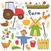 Vector farm cute illustrations set in doodle style