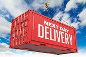 Next Day Delivery - Red Hanging Cargo Container.