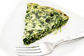 Eating Served Spinach Quiche With A Fork
