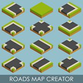Roads map creator. Isometric