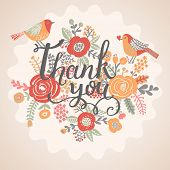 picture of thankful  - Thank you card in bright colors - JPG