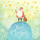 Merry Christmas card in vector.Cute funny Santa Claus with gift under snowfall made of hearts and stars