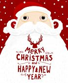 image of christmas greetings  - Santa Claus with Merry Christmas Label for Holiday Invitations and Greeting Cards - JPG
