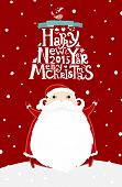 Santa Claus with Merry Christmas Label for Holiday Invitations and Greeting Cards. Xmas Poster, Banner, Placard or Card Template. Winter Illustration with Snowflakes,