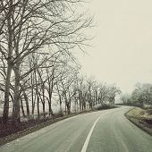 Empty road on an overcast winter day