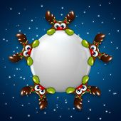 Christmas Reindeers Holding Snowball Over Blue Background