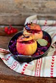 Stewed Red Cabbage With The Stuffed Apples In A Metal Vintage Bowl