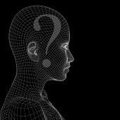 Concept or conceptual 3D wireframe human female question ask head isolated on black background