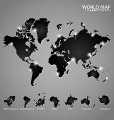 Modern world map with continents atlas (North america, South america, Europe, Africa, Asia, Australia, Antarctica). Vector illustration.