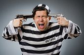 image of inmate  - Funny prison inmate with gun - JPG