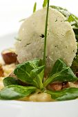 Risotto with Mushrooms, Corn Salad, Rucola and Truffle. Served with Parmesan Chip and Spring Onions