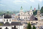 stock photo of mozart  - Aerial View of Salzburg - JPG