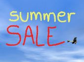 picture of biplane  - Summer sale message from biplan smoke in blue sky  - JPG