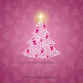 Christmas Tree With Pink Ribbon