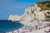 Etretat, France - : Etretat Cliff And Its Beach With Unknown People. On August 27  2013 In Normandy