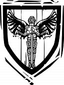Heraldic Shield Winged Knight