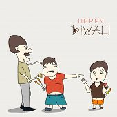 Little cute boy crying for crackers and asking his father pointing towards another boy, Happy Diwali celebration concept.
