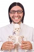 Funny teacher with skeleton isolated on white