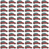 Seamless repeating pattern of red painted cars with blue glass on a white background.