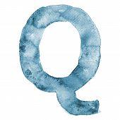 Watercolor vector capital letter Q